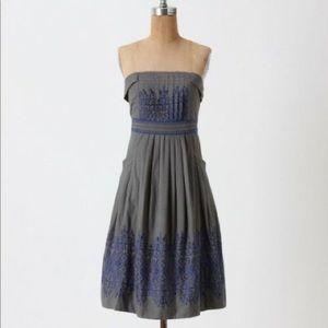 ANTHROPOLOGIE Floreat Strapless Dress Blue / Grey